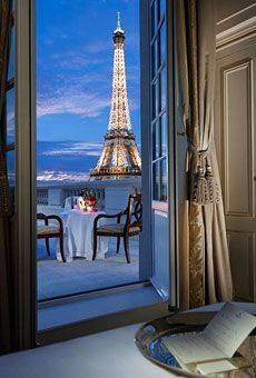 The Eiffel Tower--reach out and touch it! Room with a sick view at the Shangri-La Paris. Brides: 10 Over-the-Top Places to Get Engaged