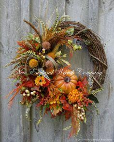 Vermont Countryside Pumpkin Wreath