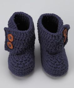 Take a look at this Knitoes & Co. Navy Blue Crocheted Boot by Tiny Toes: Infant & Toddler Shoes on #zulily today!