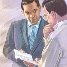 One of Jehovah's Witnesses preaches the good news of the Kingdom to a man