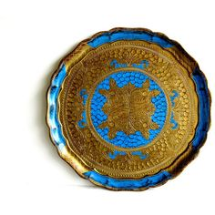 Vintage Italian Florentine Serving Tray Gold and Blue ($40) ❤ liked on Polyvore featuring home, kitchen & dining, serveware, blue tray, gold tray, gold serving tray, blue serving tray and chip tray