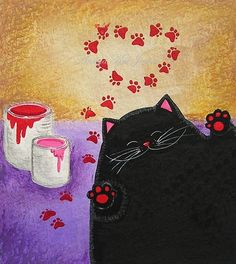 I Heart You  Sweet Romantic Kitty Cat Art Print by annya127, 17.00