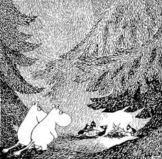i love the moomintroll illustrations--this is a beautiful example of using line to create value