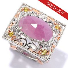147-505- Paris en Vogue 15 x 9mm Rose Cut Pink & Yellow Sapphire East-West Ring