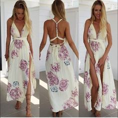 Terry Floral Backless Slits Maxi Dress