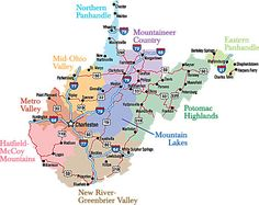 West Virginia Regions (It's weird living in WV but in the Mid-Ohio Valley. ??? . Would LOVE to live in the Potomac Highlands...)
