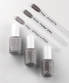 Essie Without a Stitch – Essie Wild Nudes – the most beautiful gray of Essie Essie Without a Stitch – Essie Master Plan – Essie Chinchilly Comparison and Colors Grey Nail Polish, Gray Nails, Nail Polish Trends, Essie Nail Polish, Nail Polish Designs, Glitter Nails, Gel Polish, Essie Nail Colors, Pretty Nail Colors