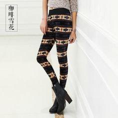 lady autumn winter warm leggings animal floral leopard patten thick leggings girl fashion warm leggings