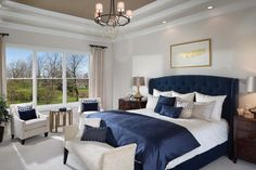 At Arthur Rutenberg Homes, our luxury home plans can help you build the home of your dreams. Find the custom home floor plan that best fits your needs. Navy Bedroom Decor, Room Ideas Bedroom, Home Bedroom, Navy Bedrooms, Estilo Navy, Luxury House Plans, Elegant Home Decor, Master Bedroom Design, Minimalist Bedroom