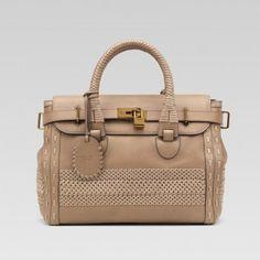 Gucci 263944 Ang6g 1574 Handmade'Large Top Griff Tasche mit Woven Web Det Gucci Damen Handtaschen
