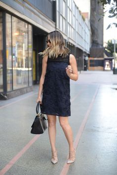 Black and Navy Shift Dress - Cupcakes & Cashmere