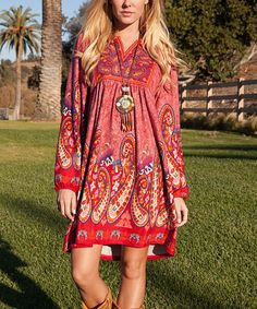 Look what I found on #zulily! Brick Red Paisley Notch Neck Sheath Dress #zulilyfinds
