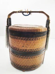 Vintage antique Chinese wedding basket  twotier by MidCenturyProps, $85.00
