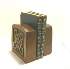Vintage Arts and Crafts Celtic Knot Bookends, Wood. $37.00, via Etsy.