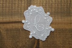 Lace embroidered C monogram embroidery lace appliquer initial tag laundry mark washing label St. Gallen Switzerland personalise personalize by Yebisu on Etsy