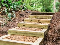 , how to make landscape stairs - - Yahoo Image Search Results. , how to make landscape stairs - - Yahoo Image Search Results Landscape Stairs, Landscape Timbers, Landscape Timber Edging, Landscape Timber Crafts, House Landscape, Landscape Architecture, Sloped Yard, Sloped Backyard, Backyard Ideas