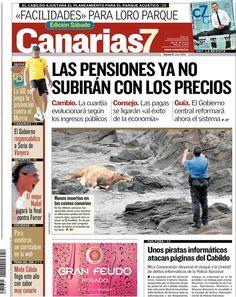 Los Titulares y Portadas de Noticias Destacadas Españolas del 8 de Junio de 2013 del Diario Canarias 7 ¿Que le parecio esta Portada de este Diario Español?