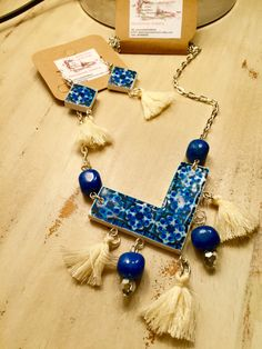 Set, Necklace and Earrings. Portuguese tiles replica. de LasJoyitasDeMarie en Etsy