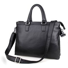 "156.79$  Watch now - http://alifh3.worldwells.pw/go.php?t=32462264716 - ""Genuine Cowhide Black Classic Men's Leather Briefcase Business Handbag Fit for 15"""" Laptop Bag # PR577247A"""