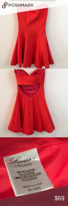 NWT Lovers & Friends Wisteria Fit & Flare Dress Gorgeous and flattering cut out back Strapless dress with a fiery red orange color and is Scuba like fabric - mini length and is NEW WITH TAGS wisteria Fit and Flare dress! Lovers + Friends Dresses Strapless