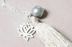Unikat XL Halskette Quaste Süsswasserperle 925 Silber Echtsilber Silberkette Lotusblüte  handarbeit Silberkette Perle von Werkstoff auf Etsy
