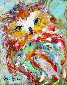 Original oil painting Owl Portrait Abstract by Karensfineart