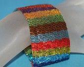 Jeweltone Stripes ... Peyote Bracelet . Beadwoven Cuff . Metallic . Colorful . Peyote . Wide . Fashion Statement . Multicolor . Festive
