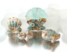 Springtide A set of handmade lampwork seashell by josephinewadman, £20.00
