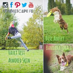 INNOVATION-DESIGN-ENTUSIASM-PASSION-FUN  Frisbeescape Let the fun begin  We make Frisbee for dogs with an innovative Design. Techincal Vault Vest made by technical fabric (no neoprene). Cool bandanas for u and ur dog. Awesome customization.  Contact us at: info@frisbeescape.com