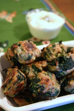 """Meal Planning 101: Spanikopita Chicken Meatballs""  http://www.mealplanning101.com/2009/05/spanikopita-chicken-meatballs.html"