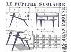 Jean Prouve Compass school desk for Ateliers Jean Prouve in 1952