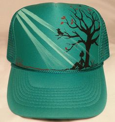 Custom painted cap by me (Viviana Garcia Melendez) Sun Visor Hat, Visor Hats, Painted Hats, Hand Painted, Mens Trucker Hat, Dope Hats, Diy Hat, Custom Hats, Snapback Hats