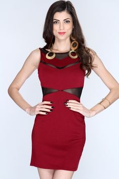 Fabulously dressed in your bodcy, cocktail dress, you decide to wear to tonights party. Pair with accessorizing it with gold, cord earrings, glittery, black heels, and a jeweled minaudiere! This dress features scoop neck, sleeveless style, cutout mesh, and finished off with back zipper closure. 64% Cotton 36% Polyester