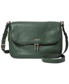 Fossil Preston Leather Flap Shoulder Bag - Fossil Handbags - Handbags & Accessories - Macy's IN DARK GREEN $198