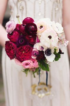 ombre white and deep red garden roses wedding bouquet
