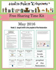 Free Sharing Time Packet!  May 2016 week 2: Joseph Smith is the prophet of the Restoration.