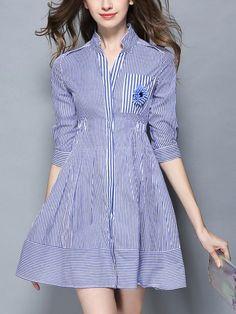 Take a look at this Coeur de Vague Blue Button-Up Fit & Flare Dress today! Backless Maxi Dresses, White Maxi Dresses, Casual Dresses, Fashion Dresses, Women's Dresses, Blue Lace Midi Dress, Lace Swimsuit, Short Beach Dresses, Evening Dresses Online