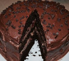 Triple chocolate cake with chocolate mousse and raspberry filling