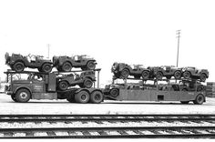 Insured Transporters Dodge with M38A1 Jeeps Circa 1952 or 53