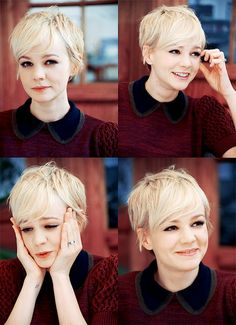 Love Carrie Mulligan's platinum pixie...if i ever chop it all off again, this will be it.