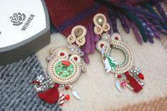 gift for her - Christmas porcelain bead embroidery soutache long earrings #BeadEmbroidered #christmas #BeadEmbroidery #AnniversaryJewelry #NewYear #motivational #RetroArtNouveau #soutache #SoutacheEarrings #PartyJewelry