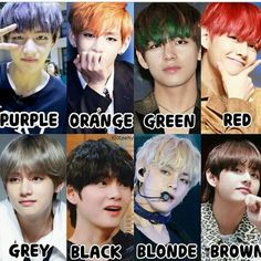 V's hairstyles colour, who is the most beautiful,? For me, it'sn the Grey and the Blonde Bts Boys, Bts Bangtan Boy, Bts Jimin, Bts Memes, Taekook, K Pop, Bts Hair Colors, Namjin, Beatles