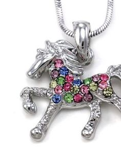 Multicolor-Horse-Necklace-Pony-Mustang-Animal-Pendant-Charm-Ladies-Women-0