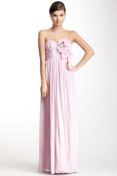 A.B.S by Allen Schwartz Long Silk Ruffle Trim Dress