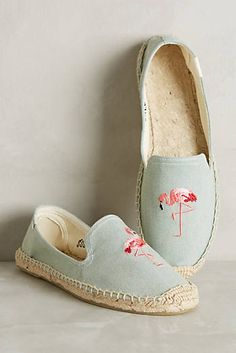 Light Chambray embroidered Flamingoes in Espadrilles