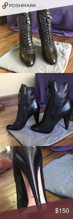 Prada boots Beautiful Prada ankle boots beautiful soft black leather ,4:5ins heels , little damage on bottom back of right heel (see photo) other than that in great condition!!!! So fun !!!!!! Prada Shoes Ankle Boots & Booties