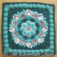 "Cascading Dahlia Mandala - Free 12"" Square Crochet Pattern at The Lavender Chair. Mandala Blanket CAL no.9"