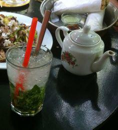 Borage Tea (in teapot) with Lemon Mint Sekanjabin in a charming cafe in Tehran | Pix & story: www.FigAndQuince.com/2014/05/02/borage-tea-with-saffron-nabat-lemon-mint-sekanjabin-persian-ice-cream-loads-of-charm-a-cafe-in-tehran/ Photo journal of a memorable trip to Iran.