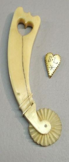 Two Pieces Of Carved Bone. A Pie Crimper With A H