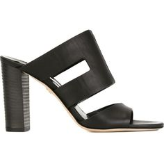 Diane Von Furstenberg Cosenza Mules (476,920 KRW) ❤ liked on Polyvore featuring shoes, black, black mules, leather footwear, black leather shoes, leather shoes and leather mule shoes